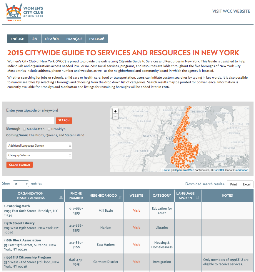 screen shot of the WCCNY Resource Guide
